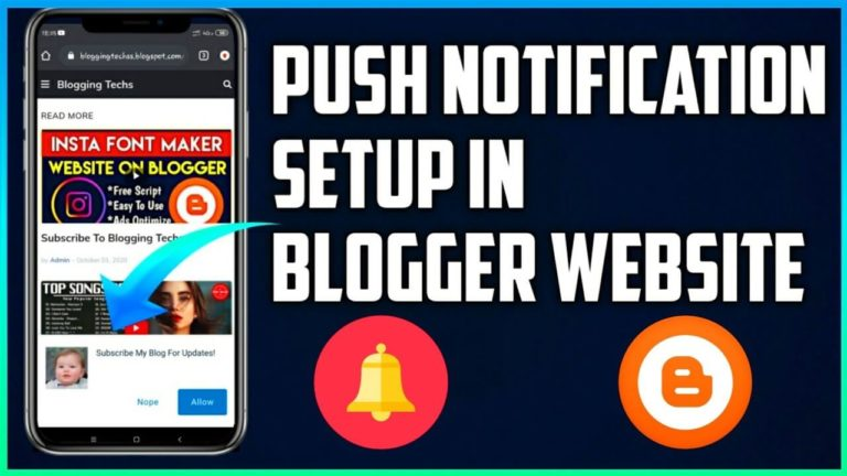 How To Add Push Notification In Blogger Website
